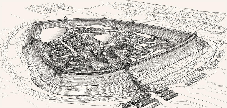 Реконструкция Белозерского кремля XVII века. Авторы: профессор И.К. Белоярская, В.А. Лупандин