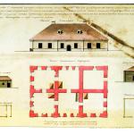 Фасад и план каменного корпуса здания для присутственных мест в г. Белозерске. 1767 год
